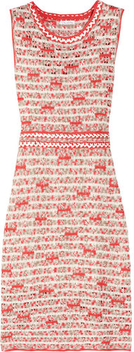 Oscar de la Renta Crocheted silk dress