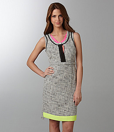 T Tahari Jessie Tweed &amp; Neon Dress