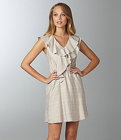 BCBGeneration Double Ruffle Jacquard Dress
