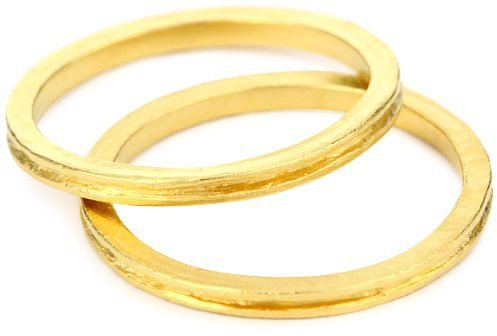 Avindy Jewelry &quot;Stackable Bands&quot; Set of Two Golden Channel Band s