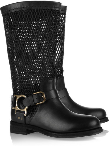 Dolce & Gabbana Leather and mesh biker boots