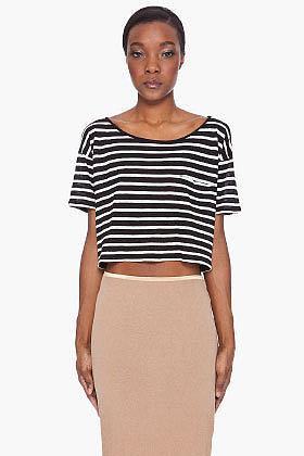 R13 Cropped Black Stripe T-Shirt