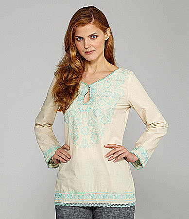 Nurture Embroidered Splitneck Long-Sleeve Tunic
