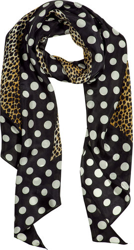 D&G Dolce & Gabbana Black Leopard and Polka Dot Print Scarf
