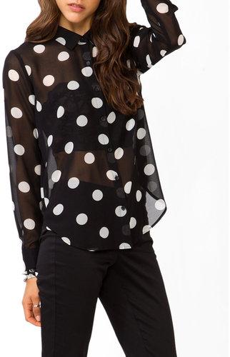 FOREVER 21 Jumbo Polka Dot Print Shirt