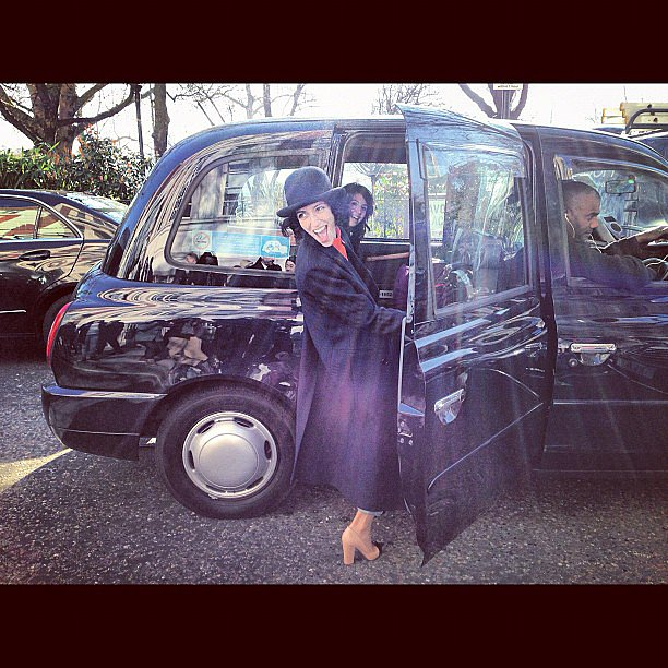 How cool is Yasmin Sewell?  The Aussie fashion icon lent an air of fun to the stuffy black cabs outside of London Fashion Week. Source: Instagram user miraduma