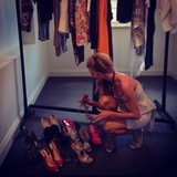 Jennifer Hawkins had a tough time picking between shoes! Source: Instagram user jenhawkins_