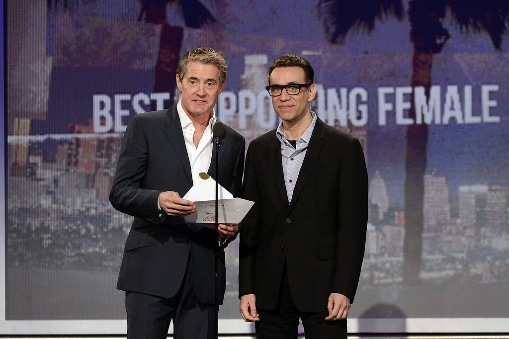 Kyle Maclachlan and Fred Armisen presented best supporting female role at the 2013 Spirit Awards.