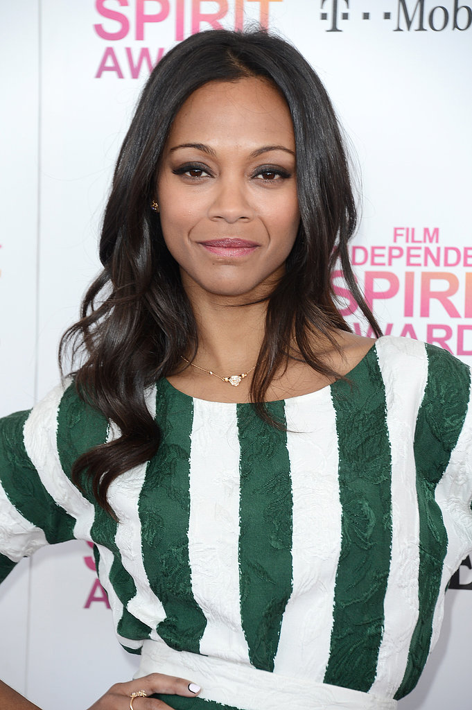 Zoe Saldana on the red carpet at the Spirit Awards 2013.