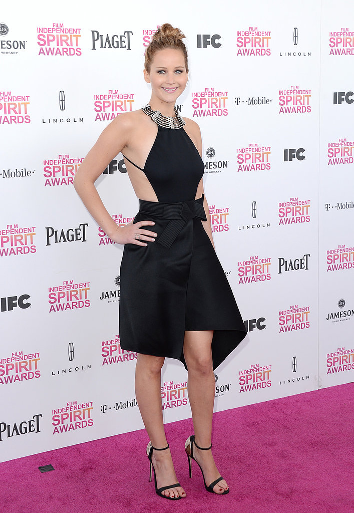 Jennifer Lawrence on the red carpet at the Spirit Awards 2013.
