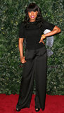 Jennifer Hudson also wore black to the QVC bash, but her version included a black short-sleeve top with black silk trousers.