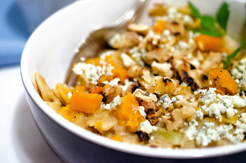 Creamy Butternut Pasta with Blue Cheese and Toasted Walnuts