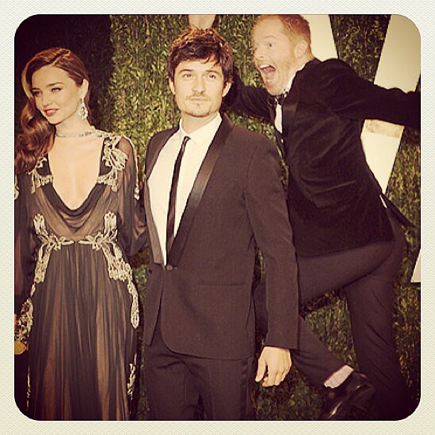The adorable Orlando Bloom and Miranda Kerr were victims of the best midair Oscars photo-bomb ever, from Modern Family's Jesse Tyler Ferguson.  Source: Instagram user jessetyler