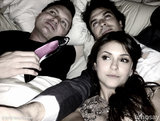 Stars Ian Somerhalder and Nina Dobrev, along with producer Kevin Williamson, got cozy in bed.  Source: Nina Dobrev on WhoSay