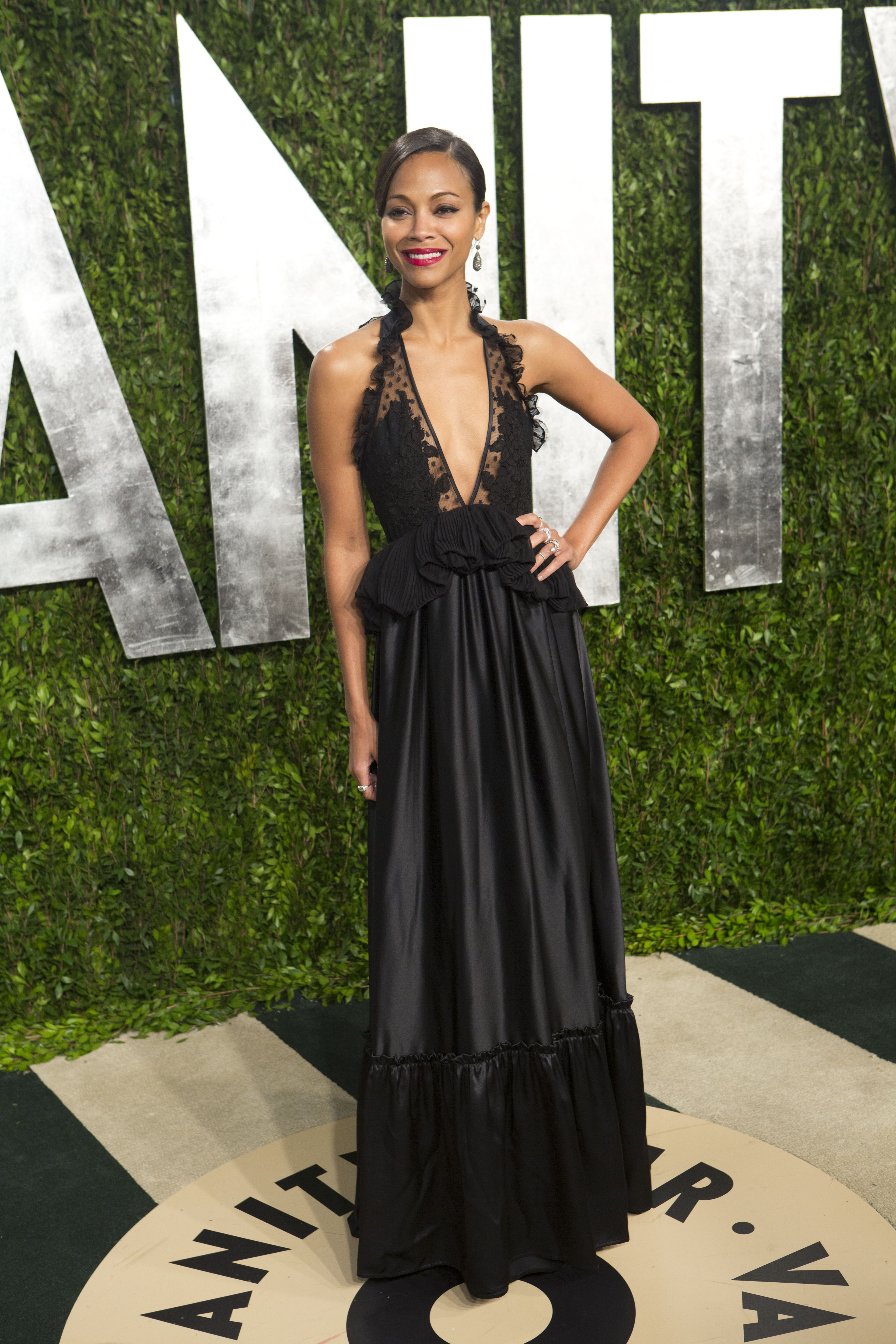 Zoe Saldana arrived at the Vanity Fair Oscar party.