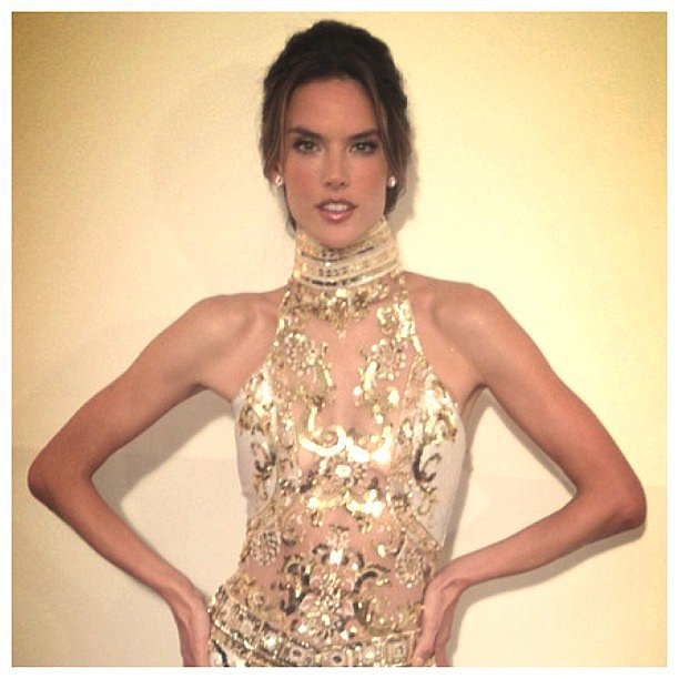 Alessandra Ambrosio prepared for the Oscar fetes in a gold number. Source: Instagram user victoriassecret
