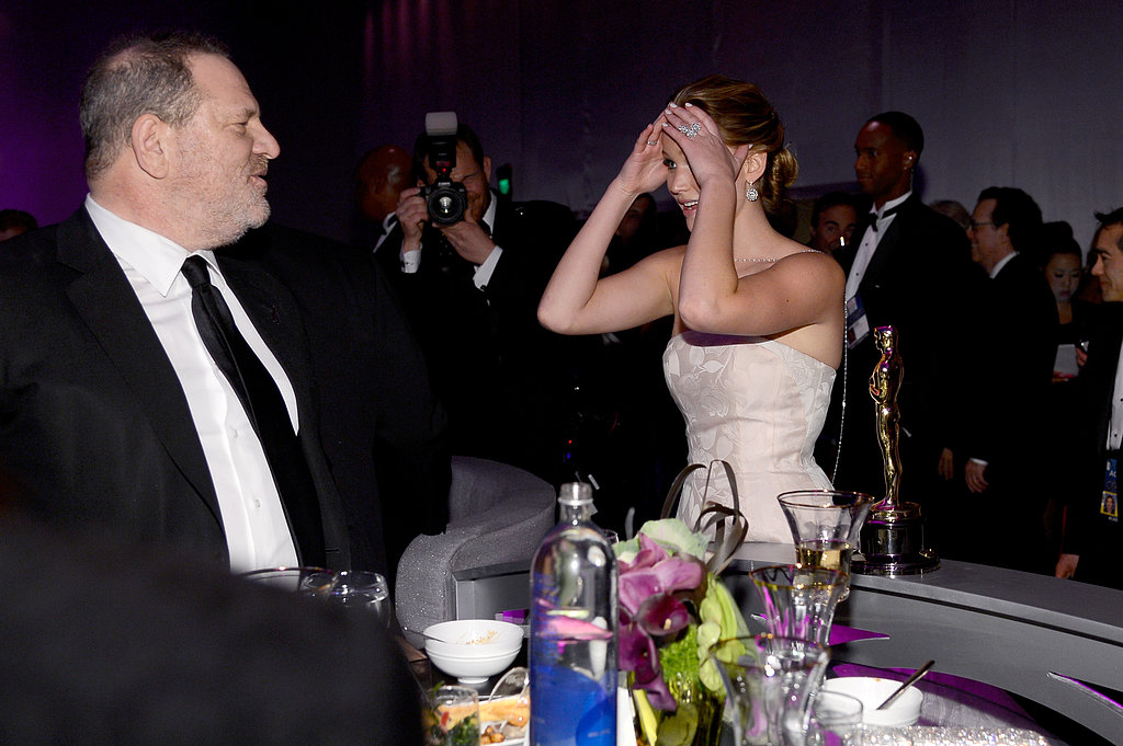 Jennifer Lawrence chatted with Harvey Weinstein at the Governors Ball.