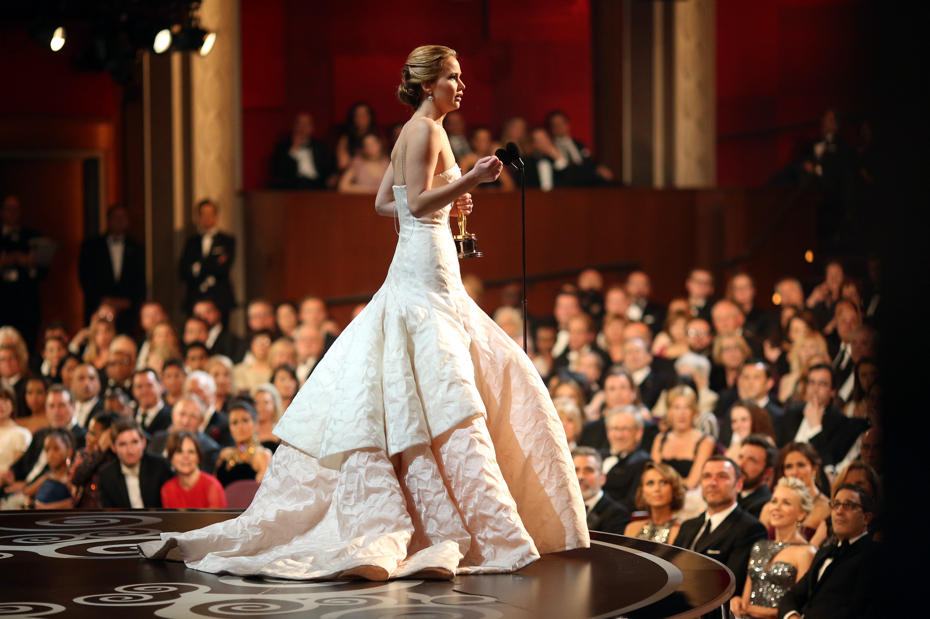 Jennifer Lawrence accepted her award at the 2013 Oscars.