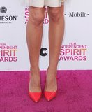 Aubrey Plaza's flirty floral dress got a major jolt via her bright red pumps at the Indie Spirit Awards.