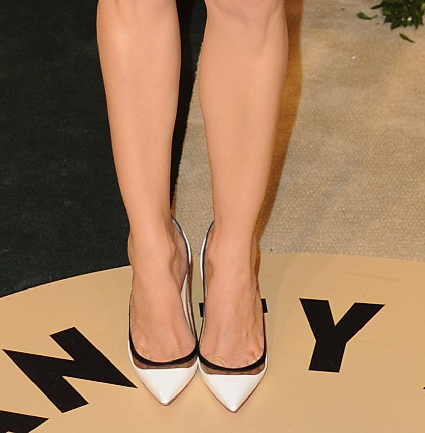 Diane Kruger wore white Christian Louboutin pumps with her black-and-white printed Giambattista