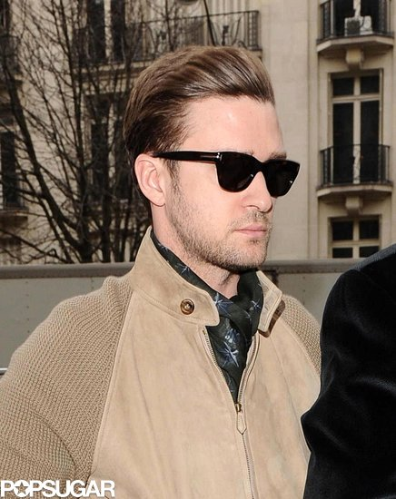 Justin Timberlake wore sunglasses in Paris.