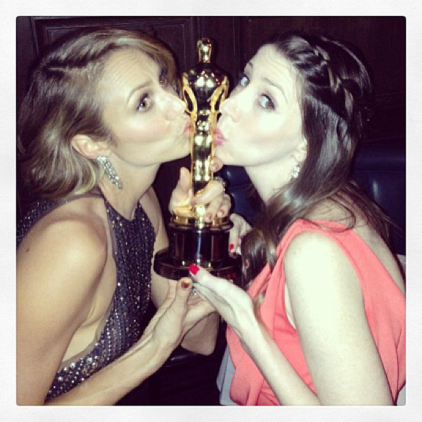 Stacy Keibler and a friend kissed George Clooney's Oscar. Source: Instagram user stacykeibler
