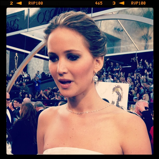 Jennifer Lawrence looked beautiful on the red carpet at the Oscars. Source: Instagram user marcmalkin