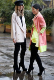 A boyish coat and cap for one; neon hues for the other — both are worth taking notes from.