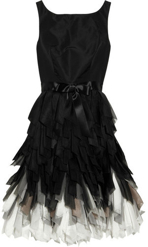 Oscar de la Renta Fringed-skirt silk-taffeta dress