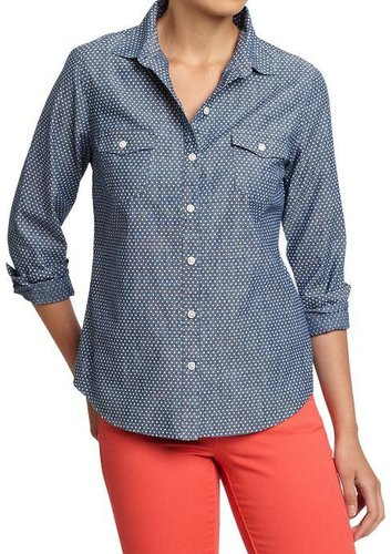 Women's Polka-Dot Chambray Shirts