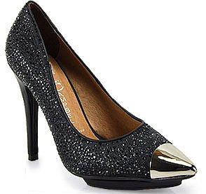 Jeffrey Campbell - Bullet - Black Rhinestone Pump With Metallic Toe Cap