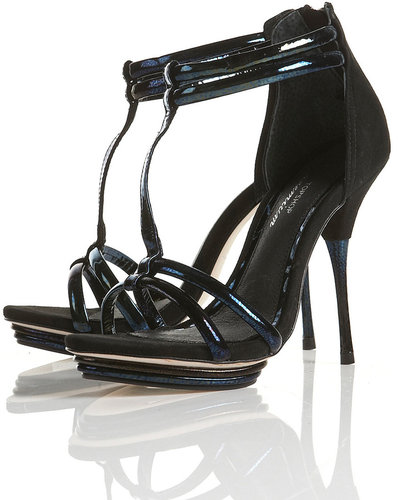 PARTY Black Strippy Sandals