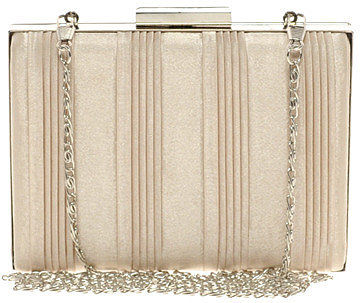 New Look Emily Pleated Satin Box Clutch