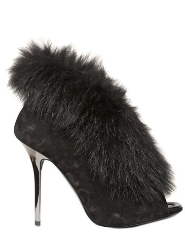Diego Dolcini - 120 Mm Suede And Fox Fur Boots