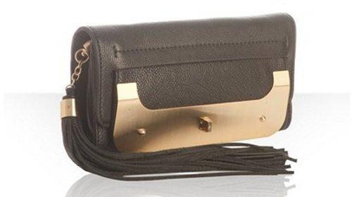 Diane Von Furstenberg black leather 'Harper Evening' convertible tassel clutch