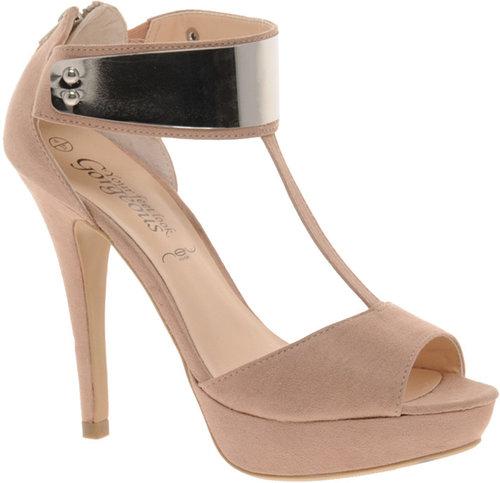 New Look Titanium Beige Metal T Bar Platform Shoes