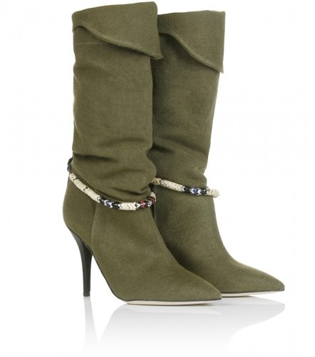 Isabel Marant FRANKLIN LINEN CANVAS BOOTS