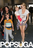 Kate Hudson wore shades as she made her way through the airport with her sons on Wednesday.