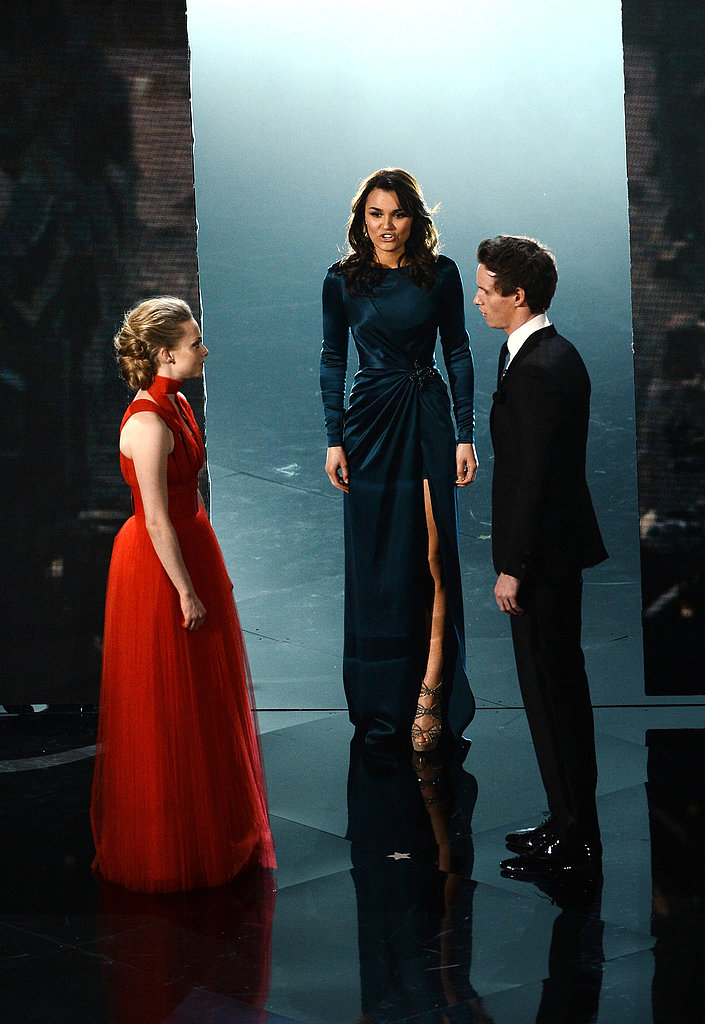 Eddie Redmayne, Amanda Seyfried, and Samantha Barks sang on stage at the Oscars.