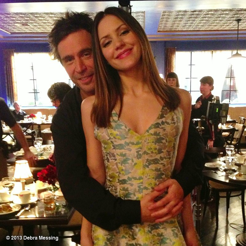 Jack Davenport and Katharine McPhee got cozy on the set of Smash. Source: Debra Messing on WhoSay