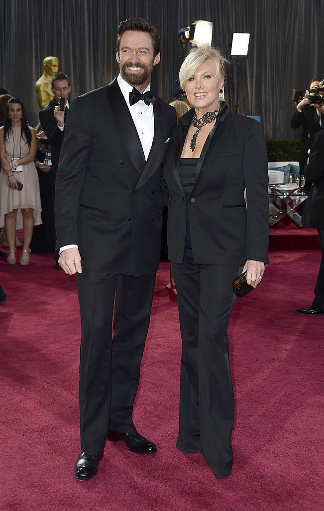 Hugh Jackman hit the Oscar red carpet with his wife Deborra-Lee Furness.