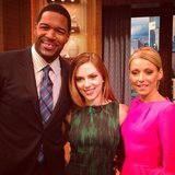 Scarlett Johansson wore a printed dress for an appearance on Live With Kelly and Michael.  Source: Twitter user michaelstrahan