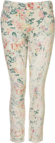 MOTO Coated Floral Crop Jeans