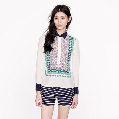 Bazaar print silk popover