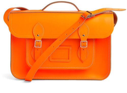 "The Cambridge Satchel Company Upwardly Mobile Satchel in Neon Orange - 15"""