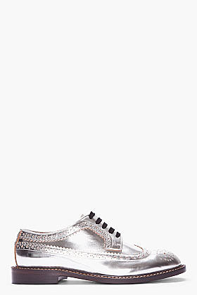 MARNI silver leather brogues