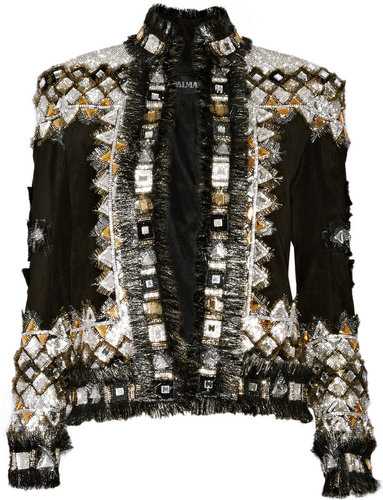 Balmain Embellished suede jacket