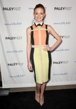 Jayma Mays wore a colorful dress.