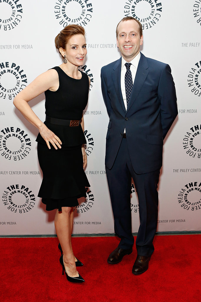 Tina Fey reunited with fellow 30 Rock writer Robert Carlock in NYC.