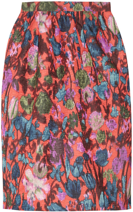 How pretty is this J.Crew Flame Floral-Print Jacquard Skirt ($198)? It would look so romantic and Spring-perfect with a ruffled blouse tucked in.